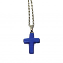 Pendentif crucifix bleu marine