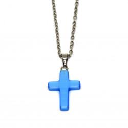 Pendentif crucifix bleu clair