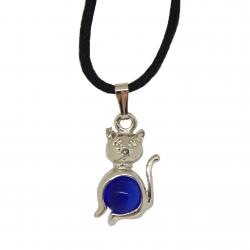 Pendentif chat et orbe bleu