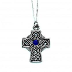 Croix entrelacs pierre bleue